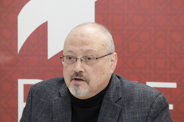 <i>Jamal Khashoggi , Image Source: <a href='https://www.flickr.com/photos/pomed/26087328517'>POMED</a></i>